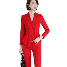 Female Elegant Formal Office Work Wear OL Women Pant Suit Career Wear Wine Ruffle Double Breasted Blazer Pant Suits 2 Pieces Set adogirl work ol suit female sleeveless top and pant suit set female coat v neck sexy chic suit women office set 2 pieces outfits