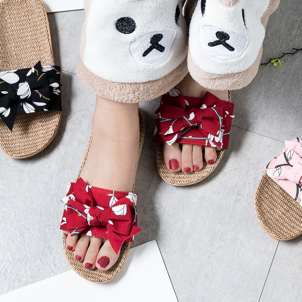 Women Flax Slippers Summer Casual Slides Beach Shoes Ladies Indoor Linen Slippers Bohemia Floral Bow Flip Flops Sandals Indoor