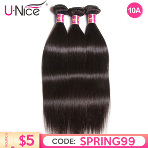 UNICE HAIR Brazilian Straight Hair Bundles Natural Color 100% Human Hair Weave Bundles Remy Hair Extension 1/3/4 PCS Free Ship(China)