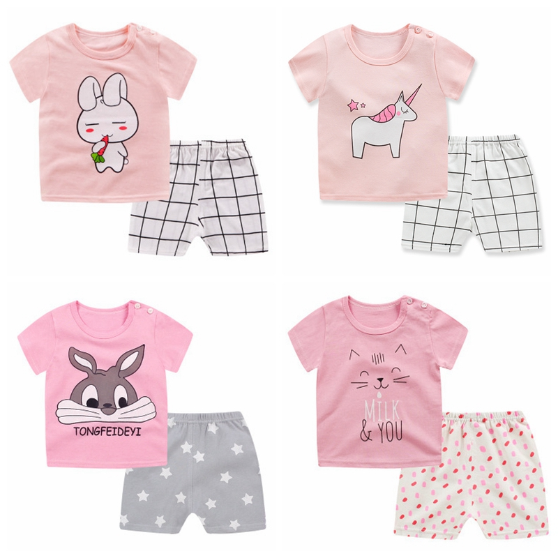 2PCS Kids Baby Girls Clothes Set Cotton Soft Short Sleeve Infant Baby Boys Tshirt Shirt Bebe Pants Outfit Summer Girls Clothing
