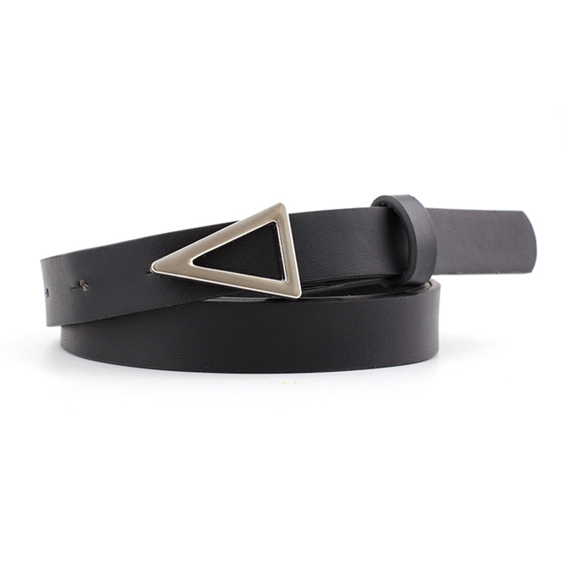 Fashion Western Style Women Belts Luxury Brand Casual PU Leather Vintage Belt Ladies Silver Triangle Buckle Thin Belt