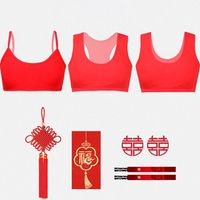 Young Girls Red Cotton Underwear Set Chinese Animal Year Training Bra Panties 40JF