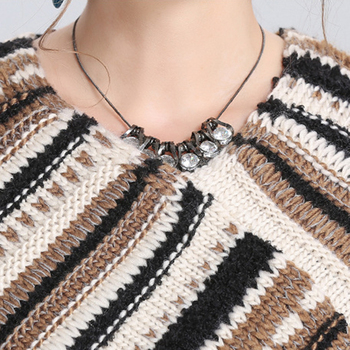 Autumn and winter new Women Loose tassel Poncho cloak shawl V-neck oblique striped pullover Knitted pullover female 8