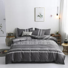 Nordic Duvet Cover Set 220x240 King Size Simple Bedding Set Striped Couple Bed Quilt Bed Sheet
