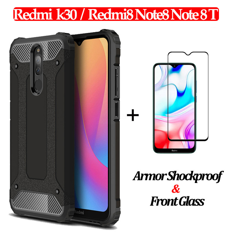 2-in-1 Glass + Armor Silicone Case Redmi <font><b>8</b></font> Hard phone Case for Xiaomi Redmi Note <font><b>8</b></font> Pro 8T Full Cover redmi K30 Shockproof Case image