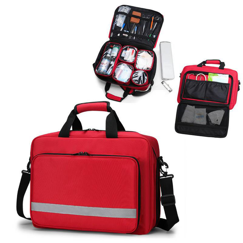 Outdoor First Aid Kit Sports Nylon Waterproof Multi-function Reflective Messenger Bag Family Travel Emergency Medical Kit DJJ044