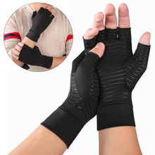 1 Pair Womens Mens Copper Fiber Therapy Compression Gloves Hand Arthritis Joint Pain Relief Half Full Finger