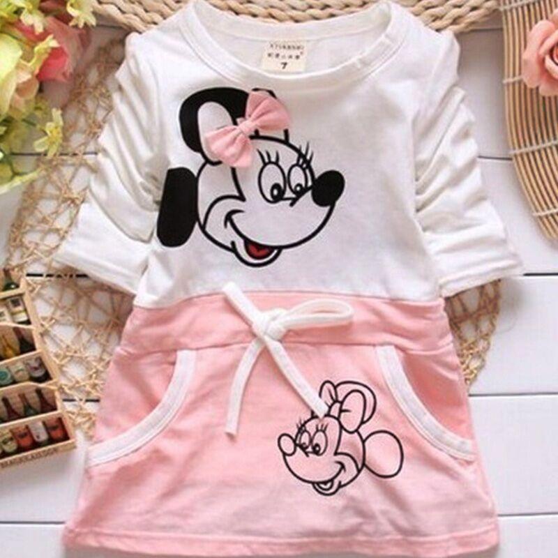 2018 New The Latest Fashion Children's Baby Dress Princess Minnie Print Cartoon Pattern 100% Cotton 0-2Years Baby Girl Dresses