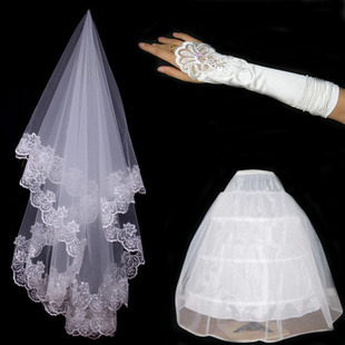 Hot Wedding Accessories Short Wedding Veil White One Layer Bridal Veil Appliques Lace Edge With Glove Petticoat