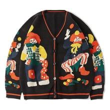 2021 Funny Clown Print Knitted Cardigan Sweater Men Women Hip Hop Cotton Harajuku Sweater Oversize Streetwear Unsiex Knit Jumper