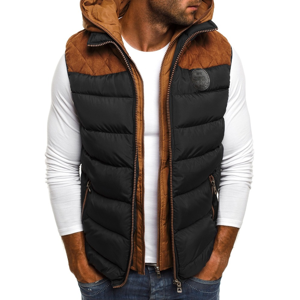 ZOGAA Winter Parka Vests Men's Warm Sleeveless Jackets Casual Waistcoat Cotton Vest Hooded Plus Size Duck Down Parkas Men Vest