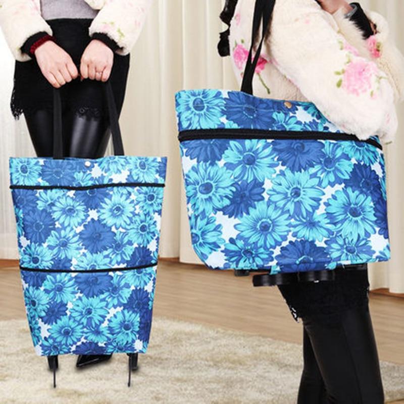 New Folding Portable Shopping Bags High Capacity Shopping Food Organizer Trolley Bag On Wheels Bags Buy Vegetables Bag