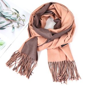 Image 4 - Bufanda de Cachemira de doble cara para mujer, pañuelo cálido para la cabeza, chales y envoltorios, manta de Pashmina suave de dos colores, Foulards, 2020