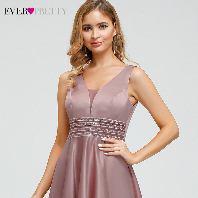 Ever Pretty Dusty Pink Prom Dresses Double V-Neck Sequined Asymmetrical Sleeveless Sparkle Formal Gowns Vestidos Formales 2020 5