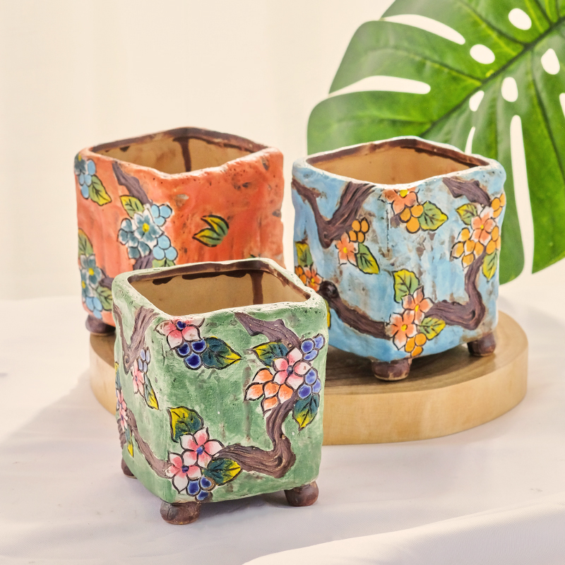 Chinese Style Hand Painted Floret Ceramic Succulent Flower Pot With Foot Stoneware Square Flower Pot Creative Home Gardening Just6F