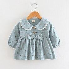 Платье принцессы с длинными рукавами для маленьких девочек; Осенняя праздничная одежда для маленьких девочек с бантом и принтом вишни; платья для новорожденных; vestido infantil