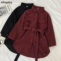 Cord Langarm Kleid Frauen Feste Tasten Taschen drehen-unten Kragen Einfache Elegante Schärpen All-gleiches Frauen Vintage Harajuku