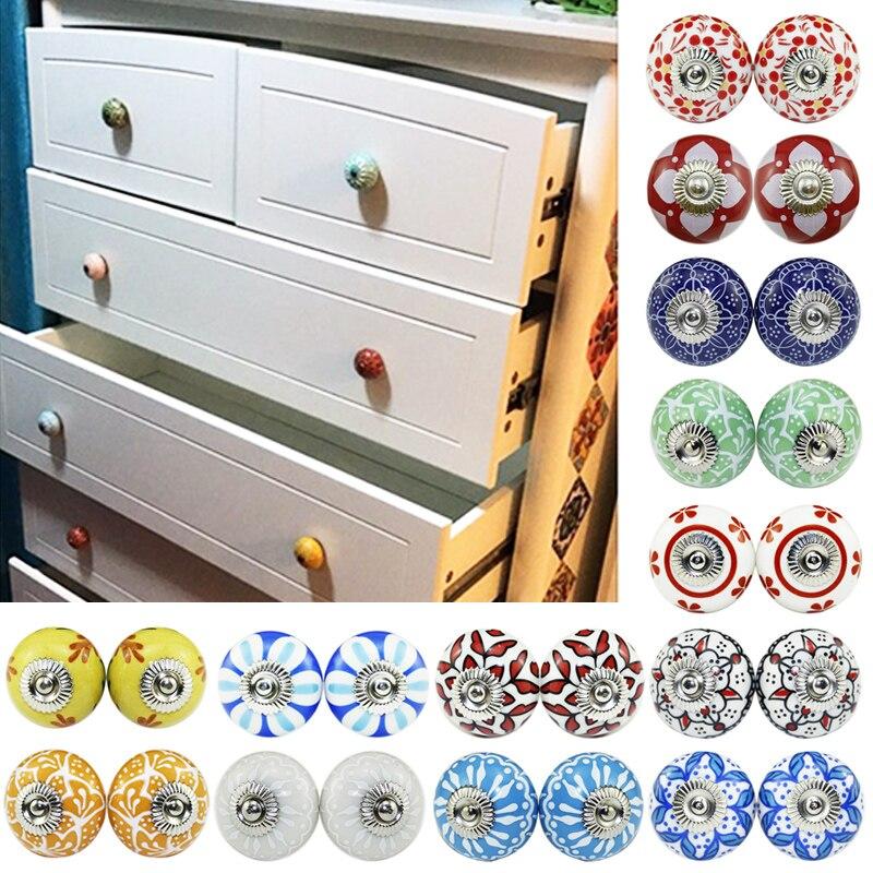 2 шт., многоцветные цветочные керамические ручки для шкафа