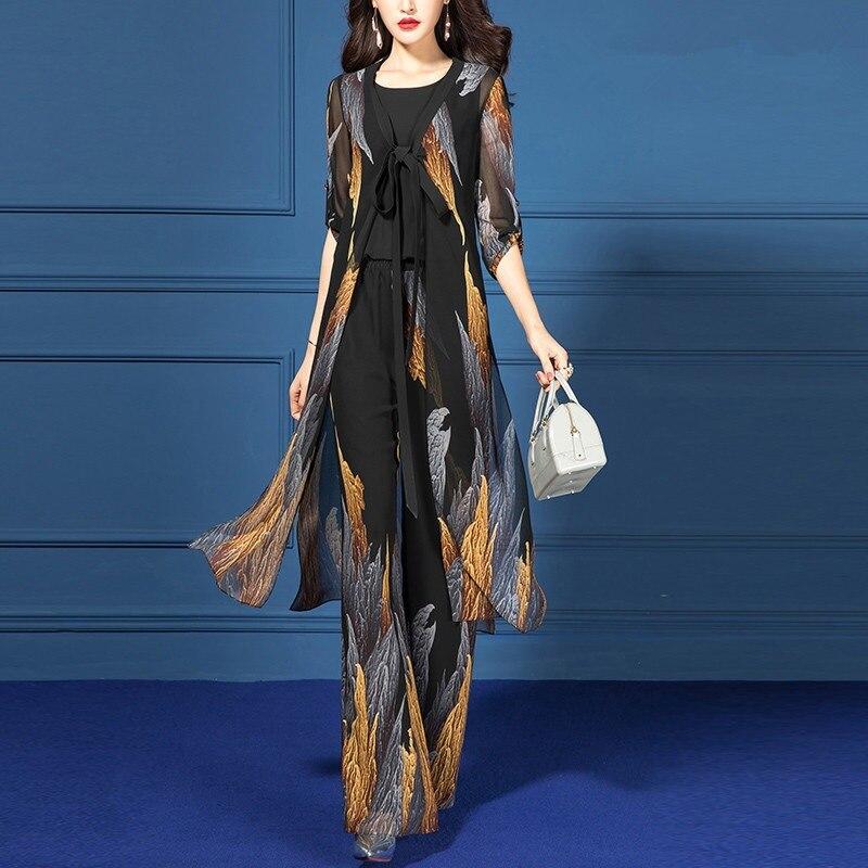 Western Style Spring Clothing WOMEN'S Suit Elegant Summer Wear 2019 New Style Chiffon Pendant Sense Loose Pants Slimming Three-p