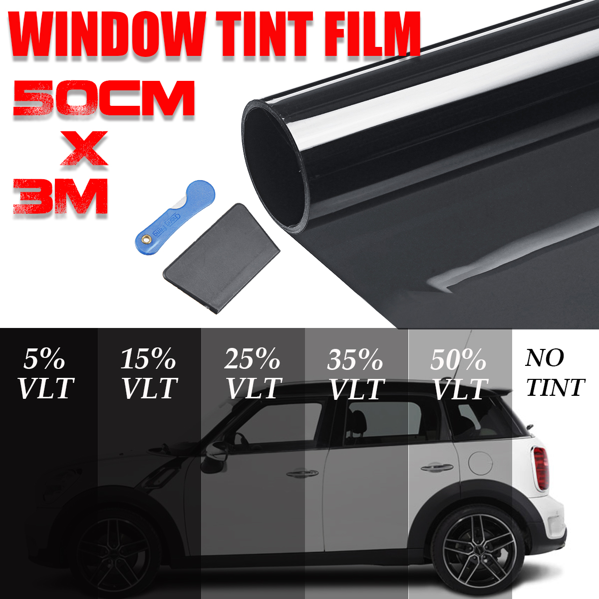NEW 300x50cm Black Car Window Tint Film Glass VLT 5percent-50percent Glass Tinting Film Roll Solar UV Protection Sticker Films