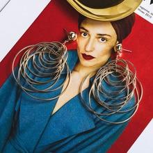 Brincos Sale Brinco Metal Golden Long Big Geometric Earrings Women In Jewelry Chain Retro Falling Overhang Summer Female 2019