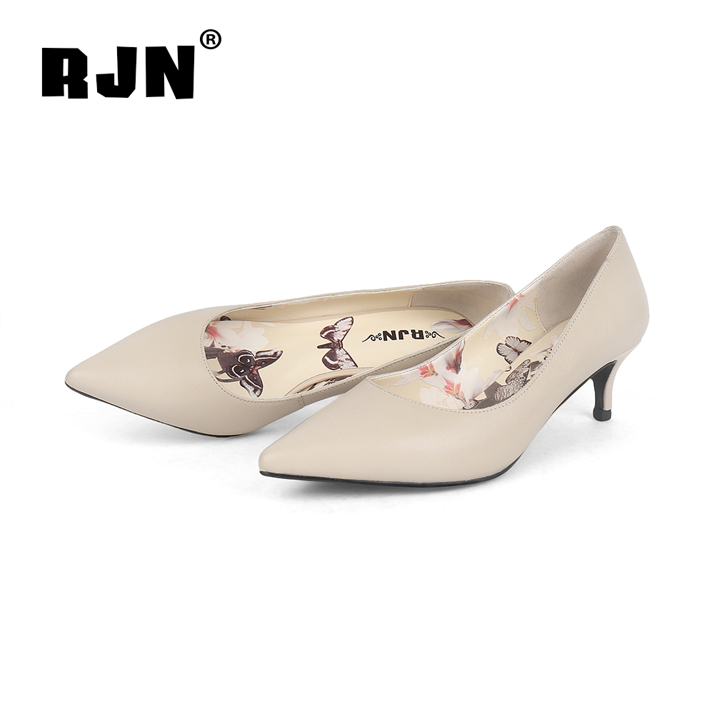 Buy RJN Stylish Women Pumps Flower Printing Soft Sheepskin Pointed Toe Thin High Heel Handmade Shoes Slip-On Shallow Well Pumps R05