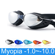 Myopia Swimming Glasses Prescription -1.0~-10 Waterproof Anti Fog Swim Eyewear Silicone Diopter Diving Goggles Adults Children