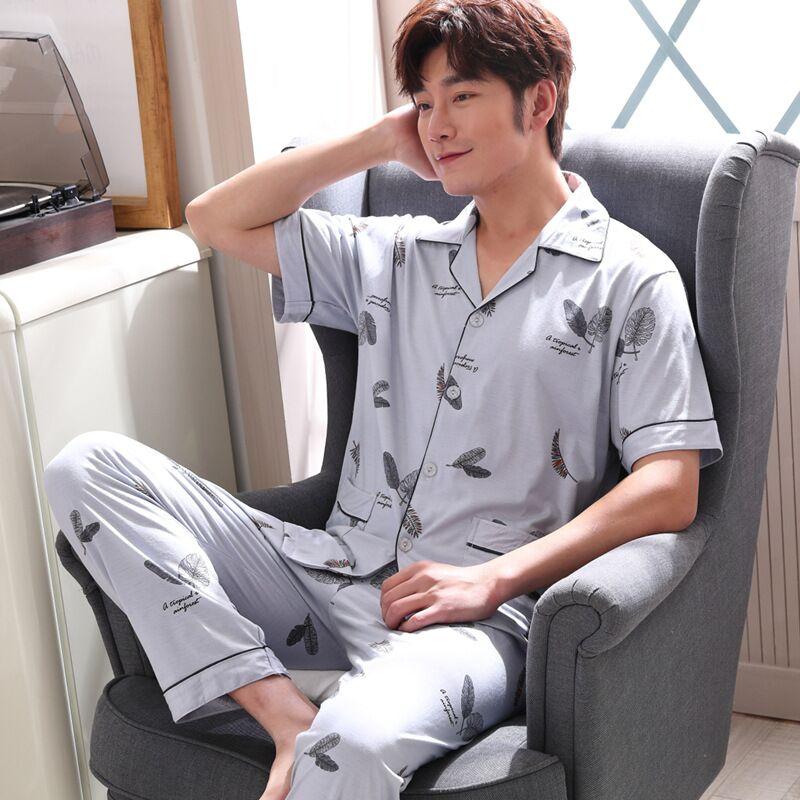 Mens Pajamas Men Sleepwear Knitted Cotton Pajama Summer Pijama Hombre Sleepwear Short Sleeve Pants Suit Pyjamas Plus Size 3XL