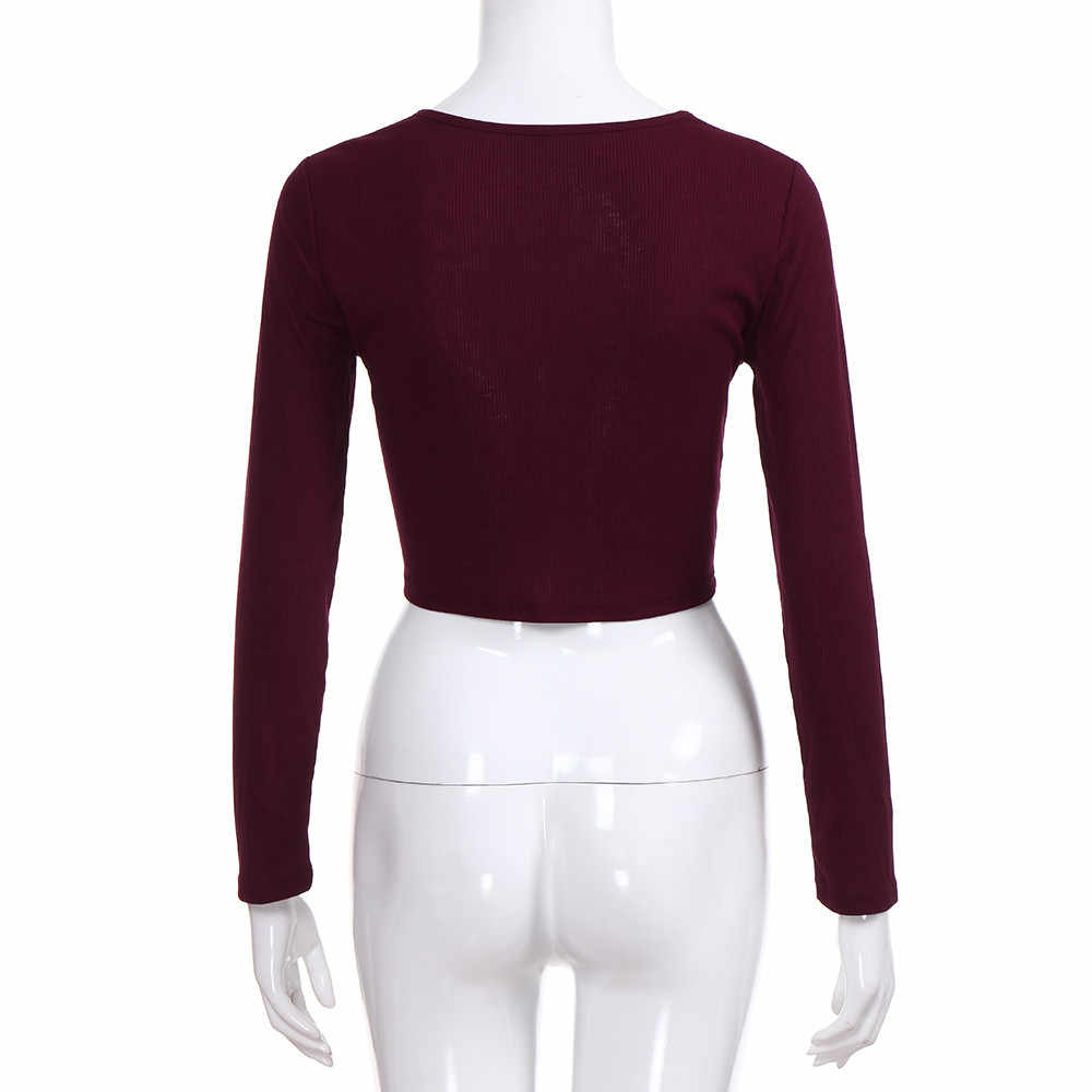 Năm 2019 Nữ Gợi Cảm Nữ Mùa Hè Slim Crop Tay Dài Cổ Tròn Áo Khoác Crop Vải Dệt Kim Mùa Thu ngắn Áo Thun