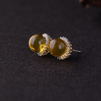 FNJ 10mm Amber Earrings 925 Silver Original Pure S925 Sterling Silver Stud Earring for Women Jewelry