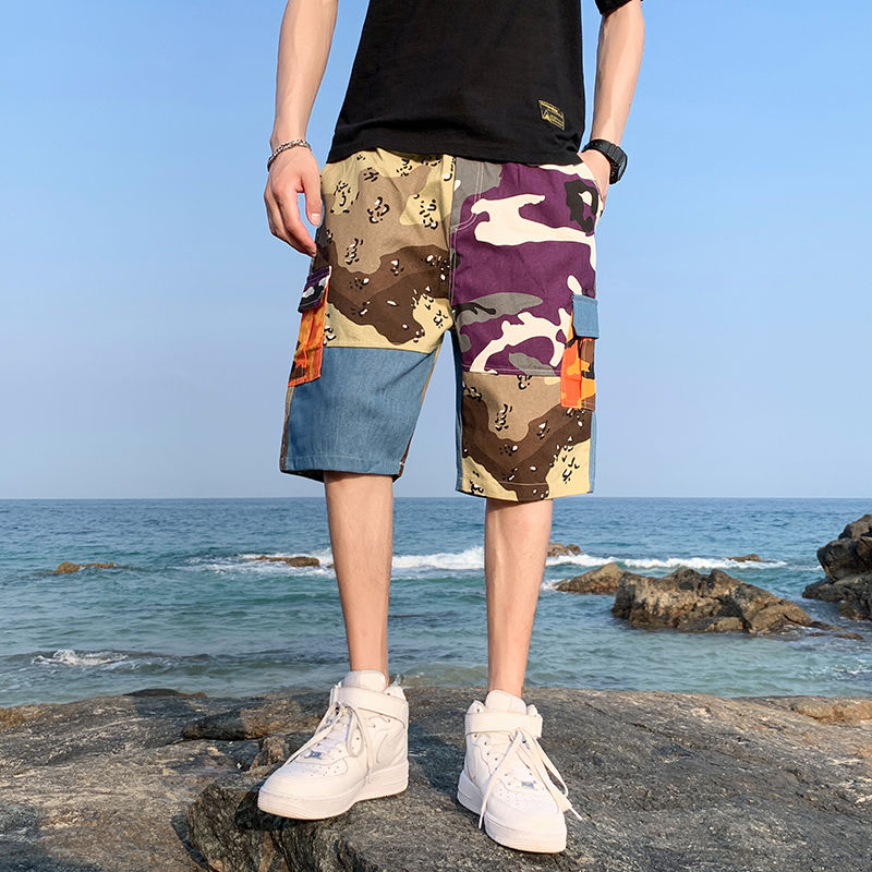 Men's shorts 2020 summer new slim plover size hip hop jeans splice 5 minute shorts casual personality youth men's wear