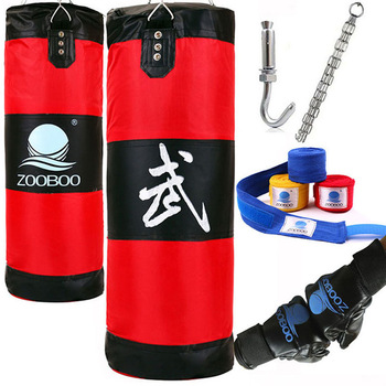 90cm MMA Boxing Bag Hook Hanging Saco De Boxe Fight Bag Sand Punch Punching Bag Sandbag with Gloves Training Fitness