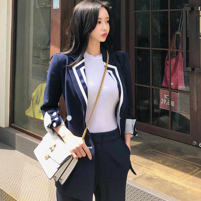 女性のオフィススーツスーツ春と秋韓国気質カラースリムダブルブレストスーツのジャケットのズボンツーピース