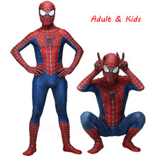 Haute qualité Spider Man Spiderman Costume déguisement adulte et enfants Halloween Costume rouge noir Spandex 3D Cosplay vêtements(China)