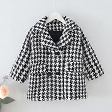 Wool Coat Children Clothes Houndstooth Girl Kids Outerwear Autumn Jacket Winter New-Fashion