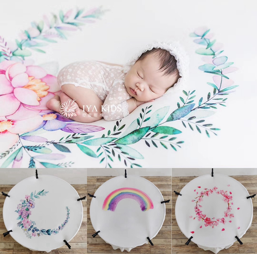 150*150cm Baby Photography Blanket Floral Baby Background For Photo Studio  Newborn Photography Prop Backdrop ,#P2481