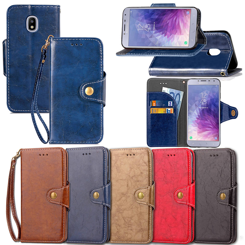 Leather PU Flip Mobile Phone Cover Case for Samsung Galaxy G6 2018 Dirt-resistant Retro Business Phone Case with Lanyard(China)