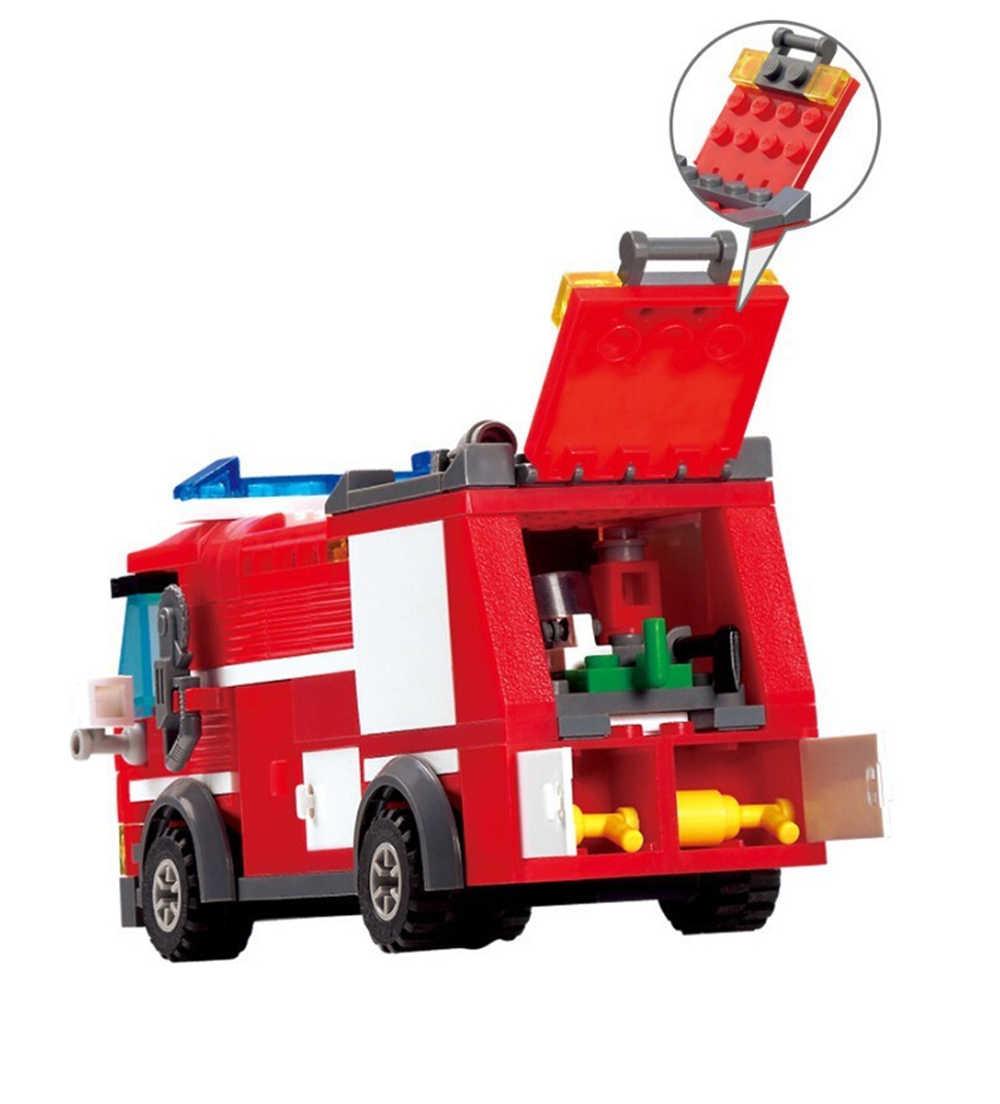 206 Pcs Legoings Fire Fighting Truck Model DIY Blok Bangunan Kit Mainan untuk Anak-anak Pendidikan Awal Mainan Brinquedos Hadiah