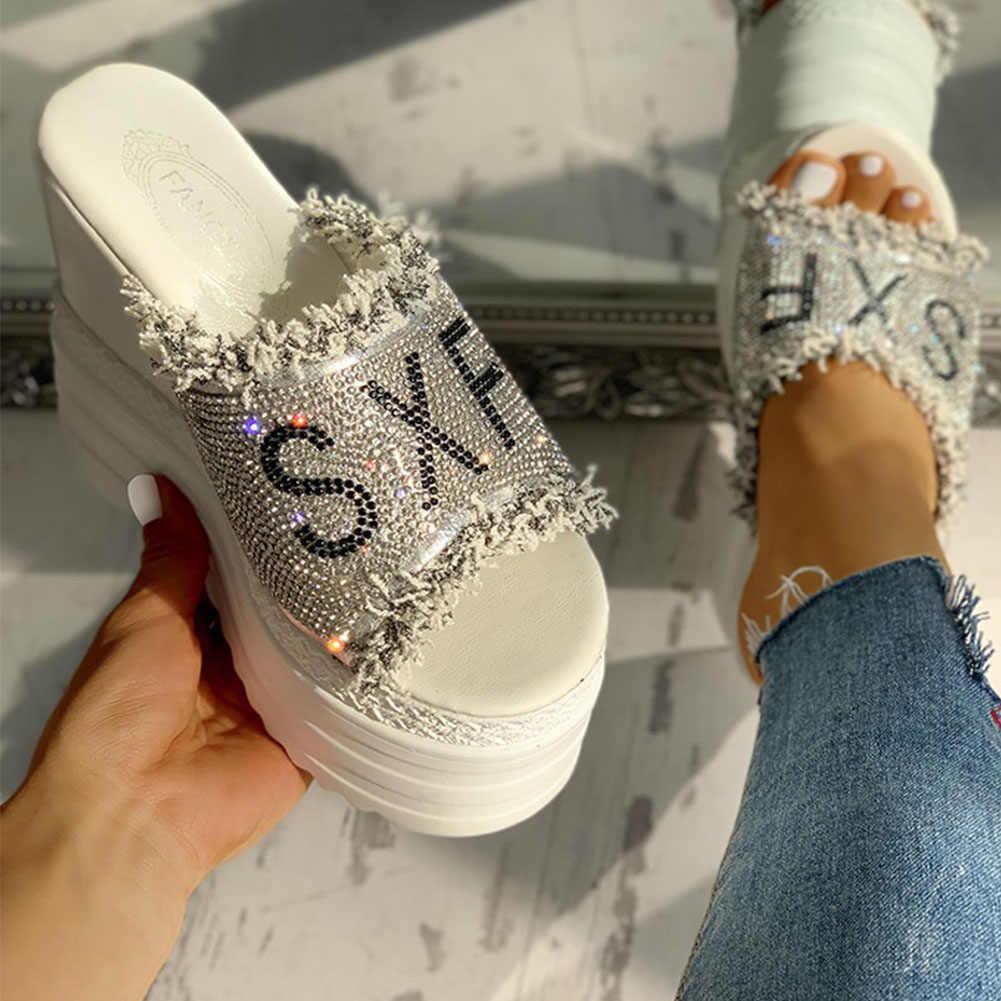 Doratasia yeni damla gemi kristaller takozlar yüksek topuklu eğlence yaz sandalet kadın ayakkabı kadın platformu katır terlik