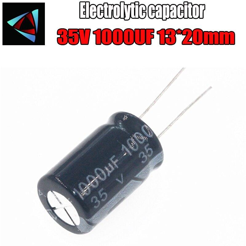 4PCS Higt Quality 35V 1000UF 13-20mm 1000UF 35V 13*20 Electrolytic Capacitor
