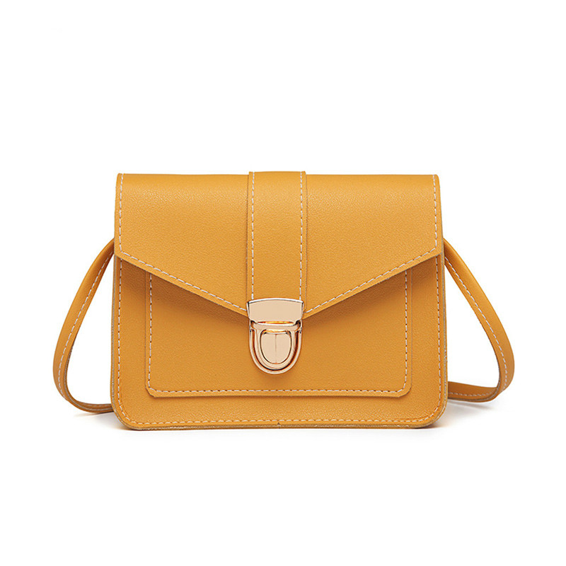 Fashion Small Crossbody Bags for Women 2019 Mini PU Leather Shoulder Messenger Bag for Girl Yellow Fashion Small Crossbody Bags for Women 2019 Mini PU Leather Shoulder Messenger Bag for Girl Yellow Bolsas Ladies Phone Purse