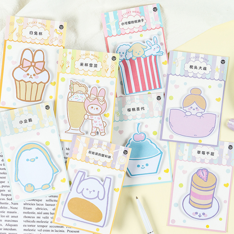 Teenage Girl Cake Cold Drink Memo Pad Planner Sticky Note Paper Sticker Kawaii Stationery Pepalaria Office School Supplies