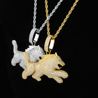 Hip Hop Micro Pave AAA CZ Stone Bling Ice Out Child Wolf Pendants Necklace for Men Rapper Jewelry Drop Shipping Rose Gold Silver