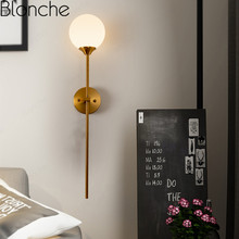 Modern Nordic Glass Wall Lamp Gold Metal Wall Sconce Bedroom Bedside Light Fixtures Bathroom Mirror Light Industrial Decor E14