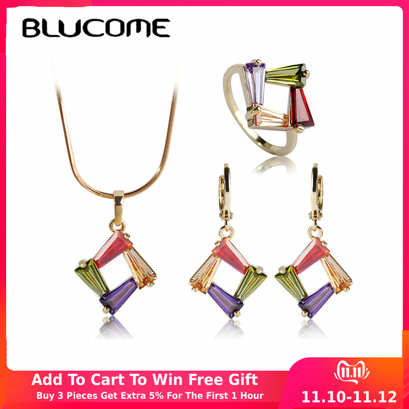 Blucome Copper Necklace Earrings Ring Set CZ Zirconia Joias Rhinestone Jewelry Sets Colares Mujer Pendientes Wedding Accessories