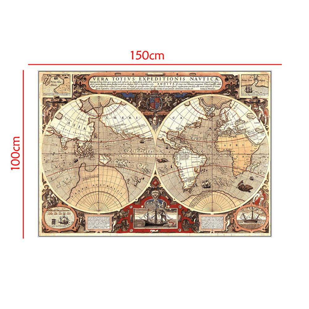 150x100cm Vintage Globe Old World Map Matte Non-woven Brown Poster Home Wall Decor Drop Ship