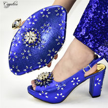 Latest royal blue pump shoes with evening bag sets nice sandals and purse 688-14, heel height 10cm(China)