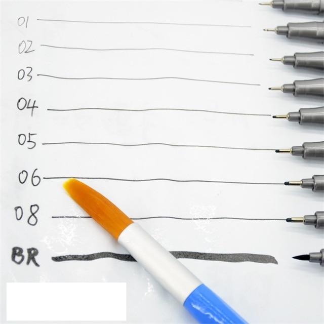 5pcs Different Tip Black Fine liner Ink Marker Pen Sketching Brush Pen for Signature Drawing Hand Lettering School Album Writing 1