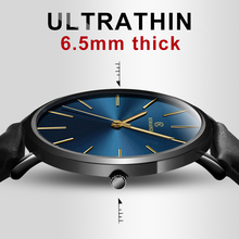 купить New Men's Watch 6.5mm Ultra-thin Leather Watches Simple Business Quartz Wristwatch Roman Masculine Male relojes para hombre дешево