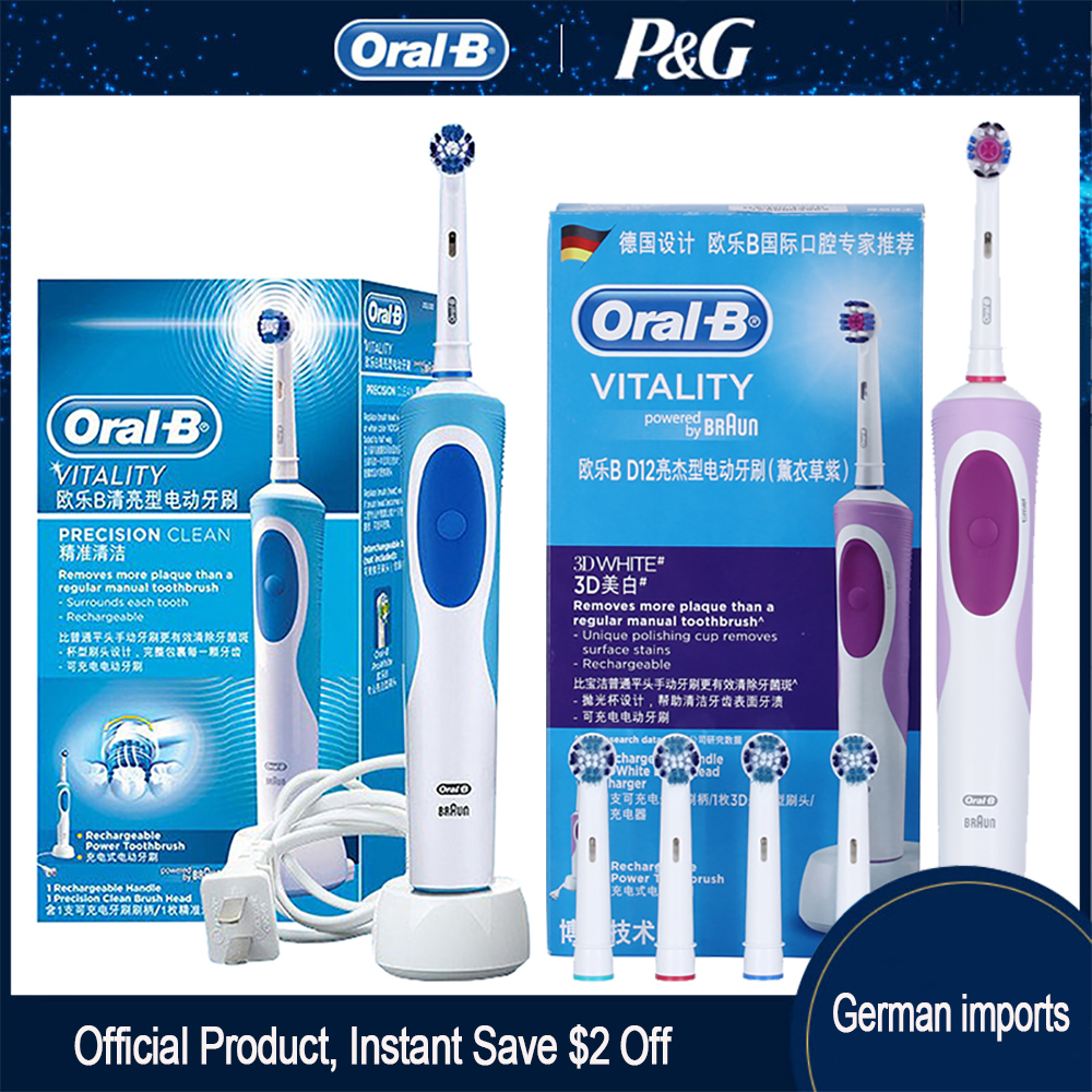 Oral B Sonic Electric Toothbrush D12 Vitality Rachargeable Rotating Ultrasonic Automatic Replacement Heads Electronic Toothbrush image
